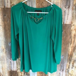 DANA BUCHMAN Green Blouse. Large.